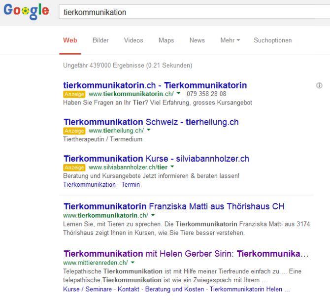 SEO Ergebnis für Tierkommunikation auf Google.ch
