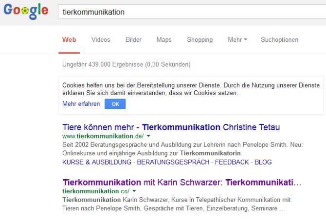 SEO Ergebnis für Tierkommunikation auf Google.de